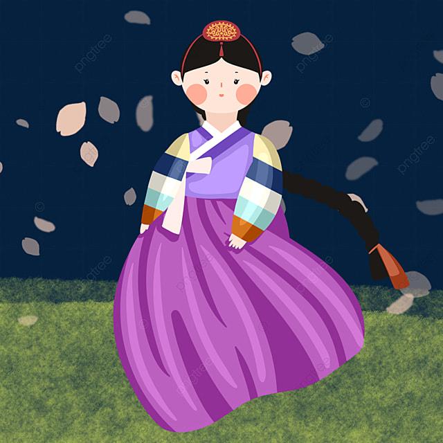 korean traditional costume cartoon character