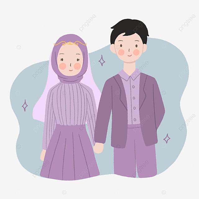 Gambar Pasangan Pengantin Muslimah Dan Jilbab Yang Comel Dalam Ilustrasi Ungu Dengan Gaya Yang Digambar Tangan Clipart Perkahwinan Agama Ilustrasi Png Dan Psd Untuk Muat Turun Percuma