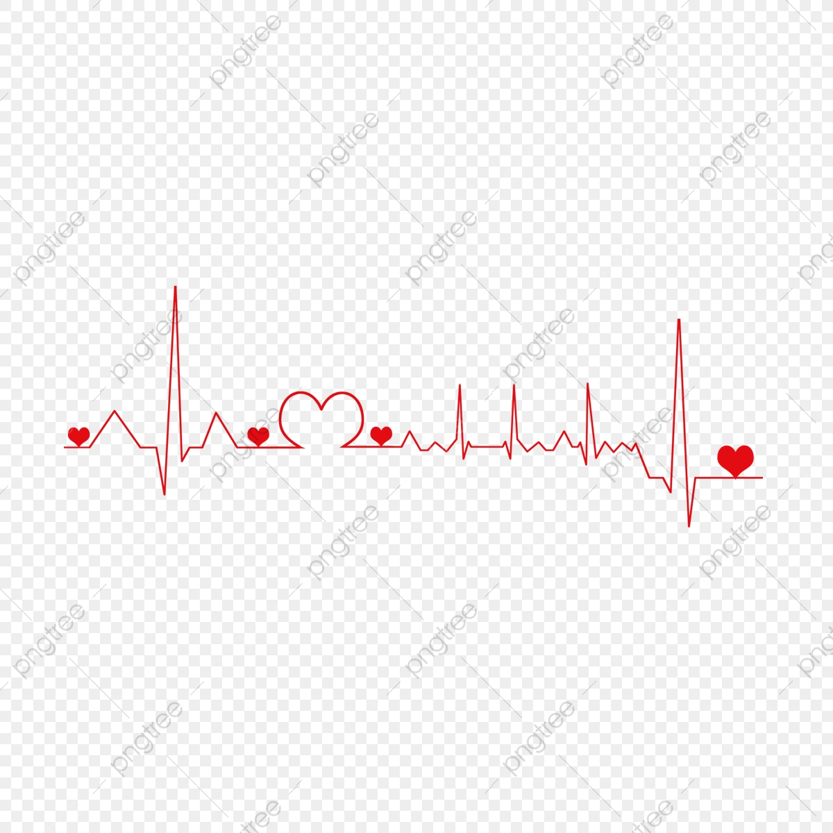 pngtree hand drawn cartoon heartbeat series element painting cute line creative png image 5489644