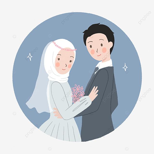 Gambar Ilustrasi Perkahwinan Pasangan Muslim Yang Comel Dengan Gaya Digambar Tangan Gadis Bertudung Tudung Islam Png Dan Psd Untuk Muat Turun Percuma