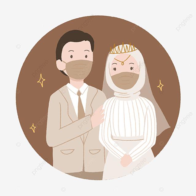 Gambar Pasangan Pengantin Muslim Yang Comel Memakai Topeng Dengan Gaya Digambar Tangan Pasangan Comel Pasangan Ilustrasi Budak Lelaki Png Dan Psd Untuk Muat Turun Percuma