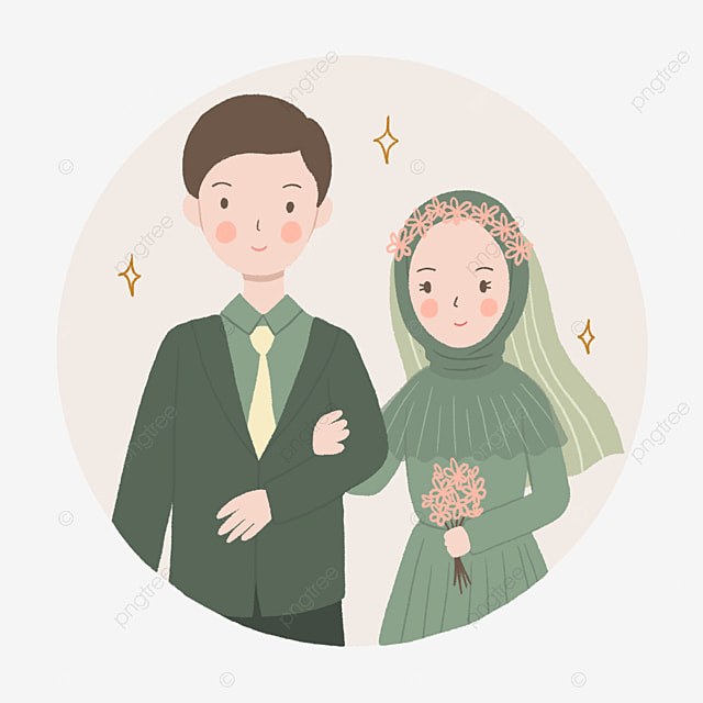 Cute Wedding Couple In Green Wearing Hijab Illustration In Hand Drawn Style Wedding Clipart Cute Couple Couple Png Transparent Clipart Image And Psd File For Free Download