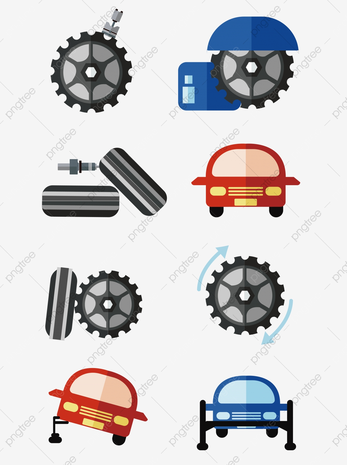 Car parts Silhouette icons Clipart Image