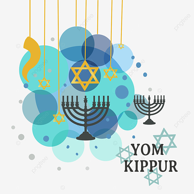 yom kippur blue geometric decorative candle
