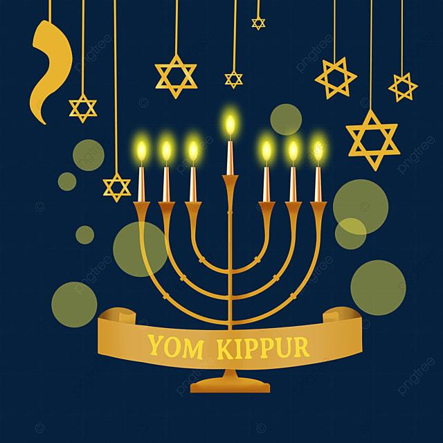 yom kippur golden candle holder