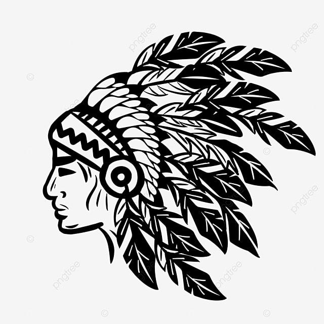 american indian black and white hand drawn aboriginal avatar