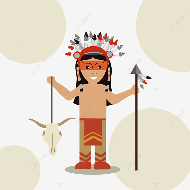 american indian hand drawn aborigines holding arrows