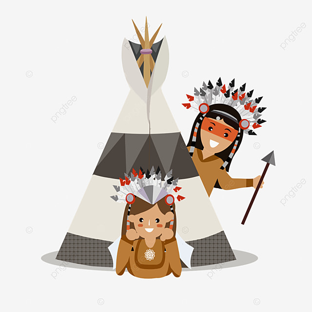 american indian hand drawn aborigines in tent