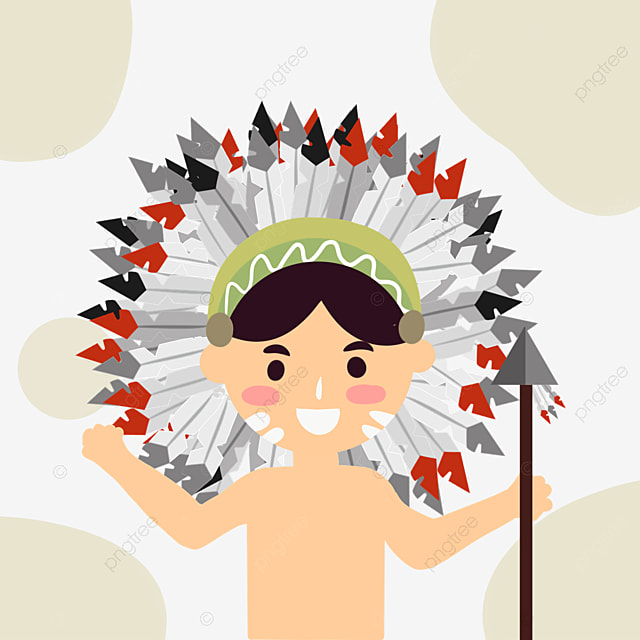 american indian hand drawn character aboriginal arrow head crown
