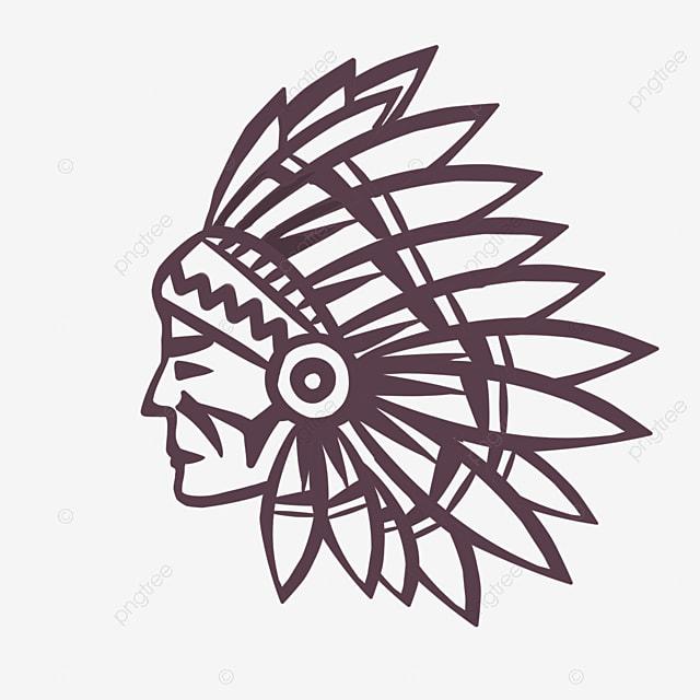 american indian hand drawn line aboriginal avatar