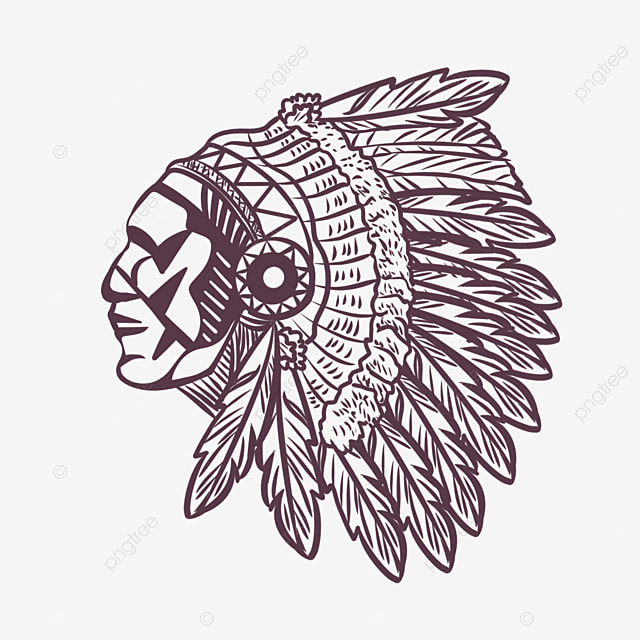 american indian hand drawn line aboriginal feather crown