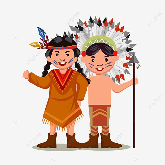 american indian hand drawn standing aborigine