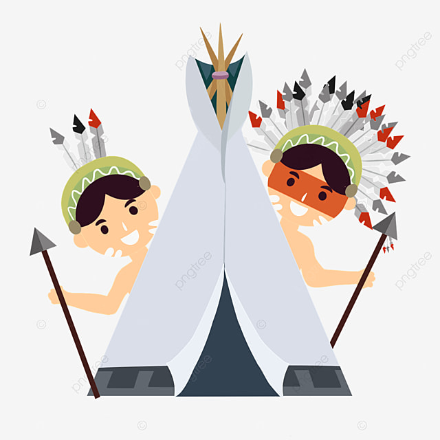 american indian hand drawn tent characters aborigines