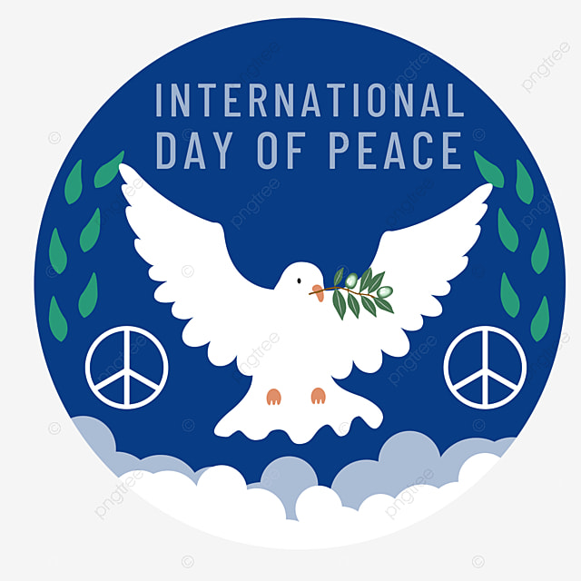hand drawn world peace day sign peace dove