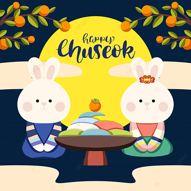 cartoon style korean autumn eve festival bunny element