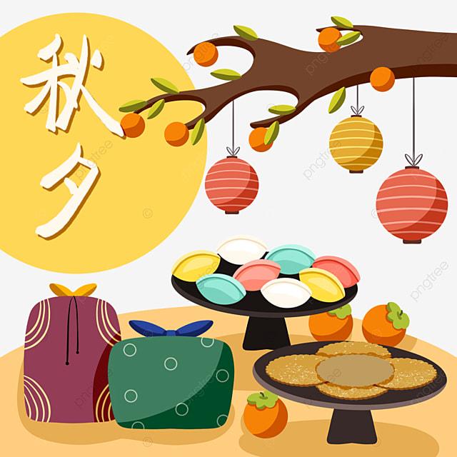cartoon style korean autumn eve festival food elements