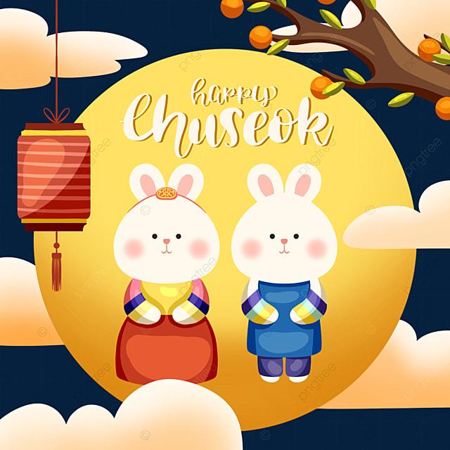 cartoon style korean harvest festival rabbit element