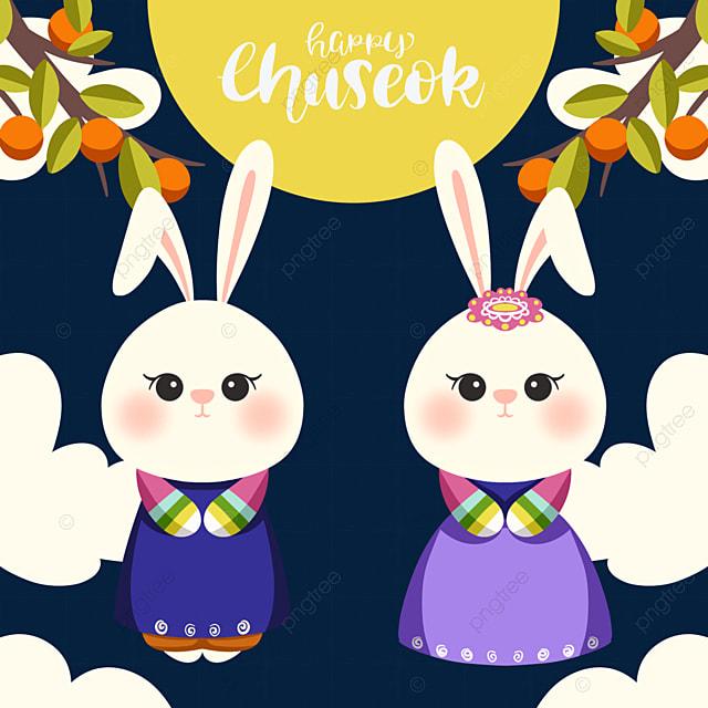 cartoon style korean mid autumn festival elements