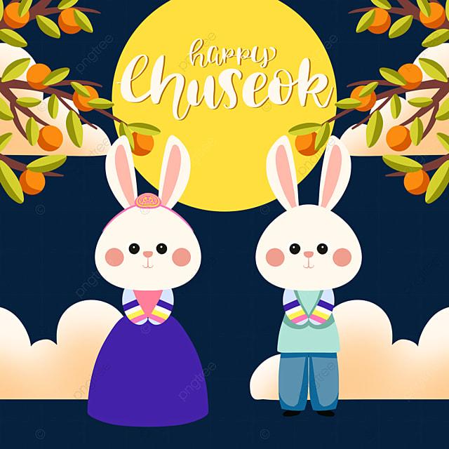 color korean harvest festival hanbok rabbit element