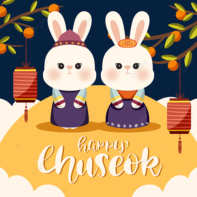 colored korean mid autumn festival hanbok bunny elements