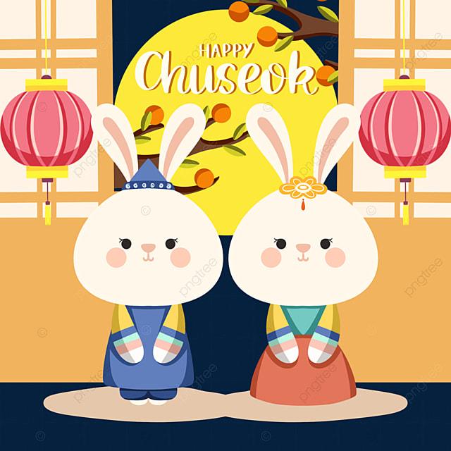 cute style korean autumn eve festival bunny element