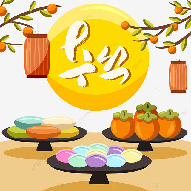 cute style korean harvest festival traditional food elements