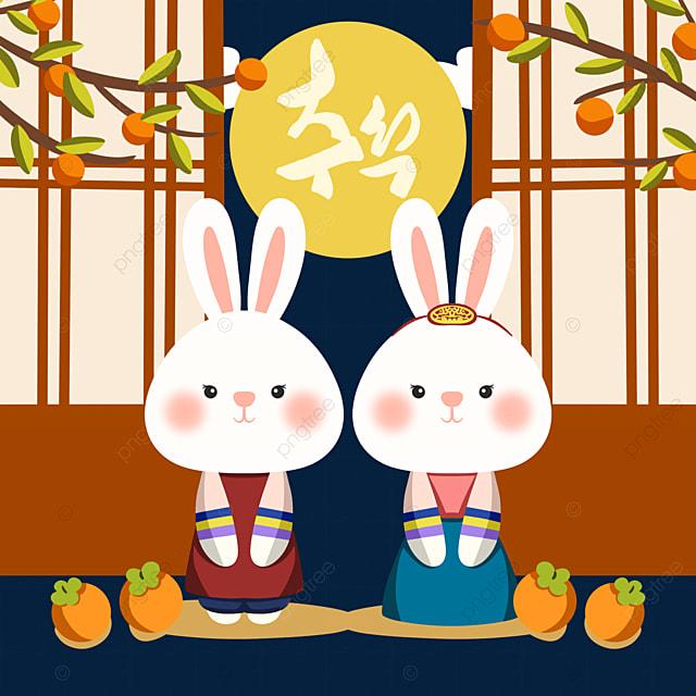 hand drawn style korean autumn eve festival hanbok rabbit element