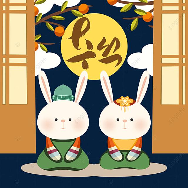 hand drawn style korean harvest festival hanbok rabbit element