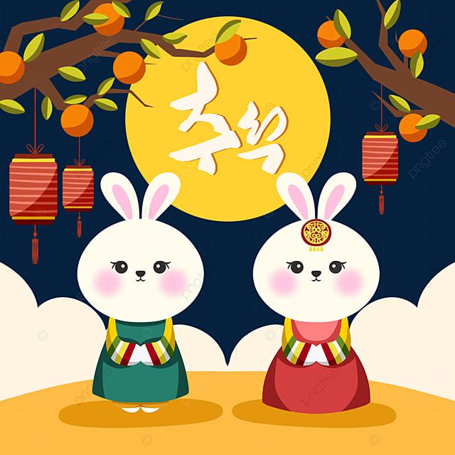 hand drawn style korean mid autumn festival hanbok rabbit element