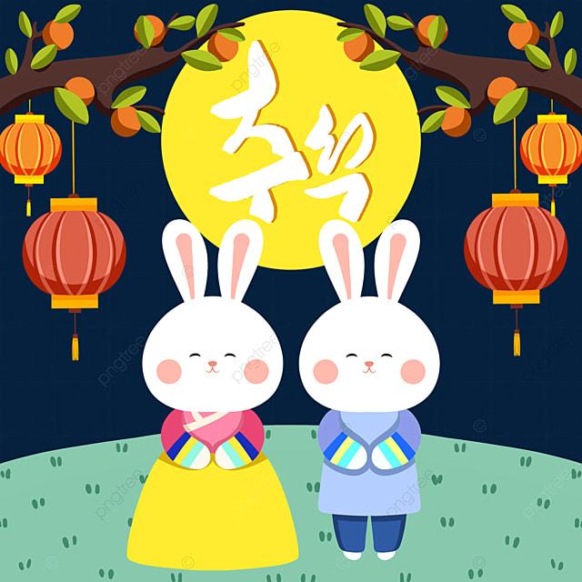 korean autumn eve festival hanbok rabbit element