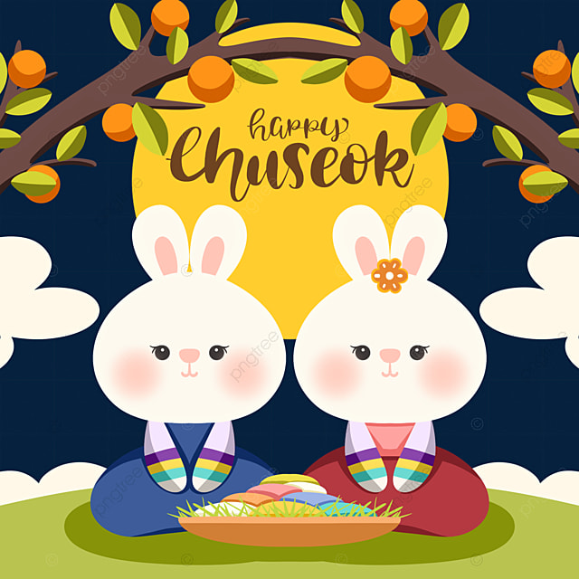 korean harvest festival hand drawn cute hanbok rabbit elements