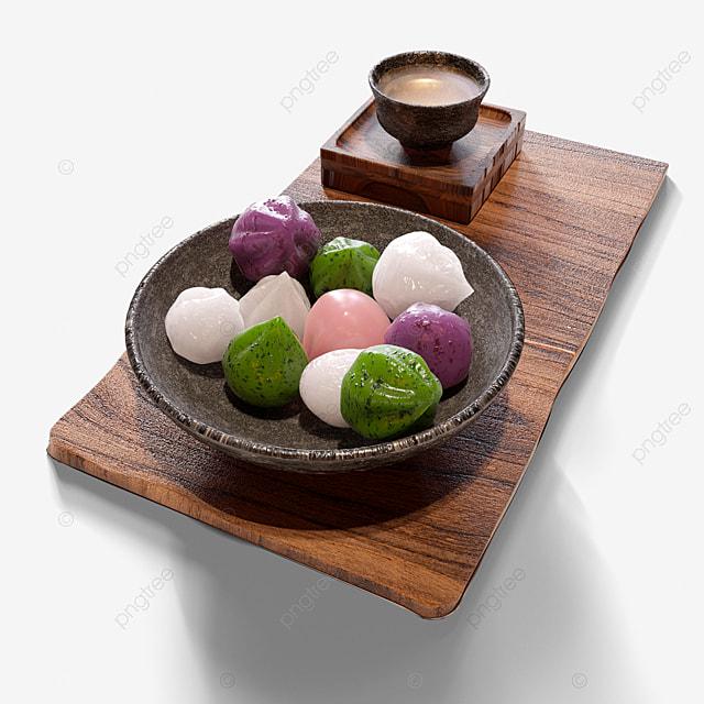 traditional korean dessert 3d elements
