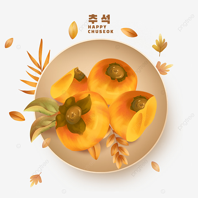 a plate of persimmons on korean mid autumn festival