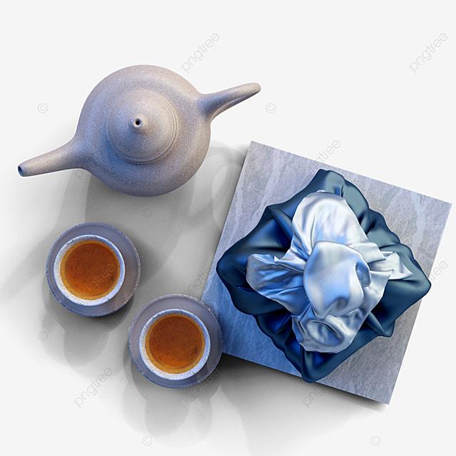 blue gift box teapot 3d element