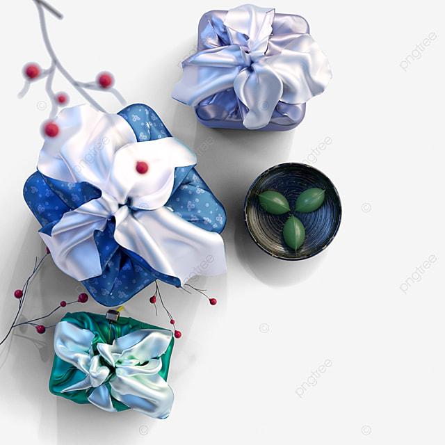 elegant korean traditional gift box 3d elements