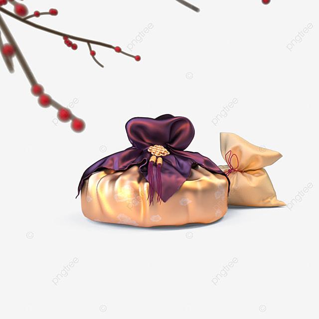 golden ornate pendant gift box 3d elements