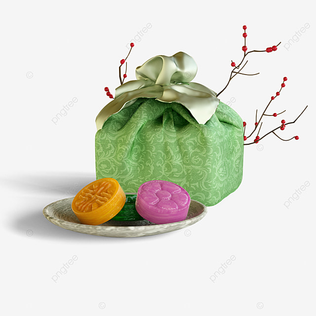 green gift box pastry 3d element