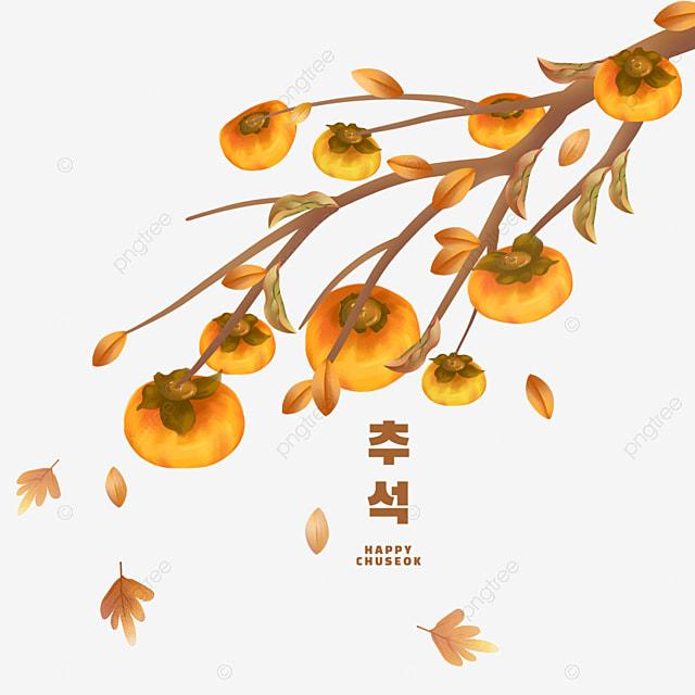 hand drawn korean autumn eve scene