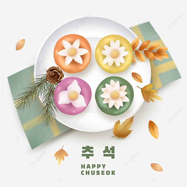 korean mid autumn festival green tablecloth rice cake