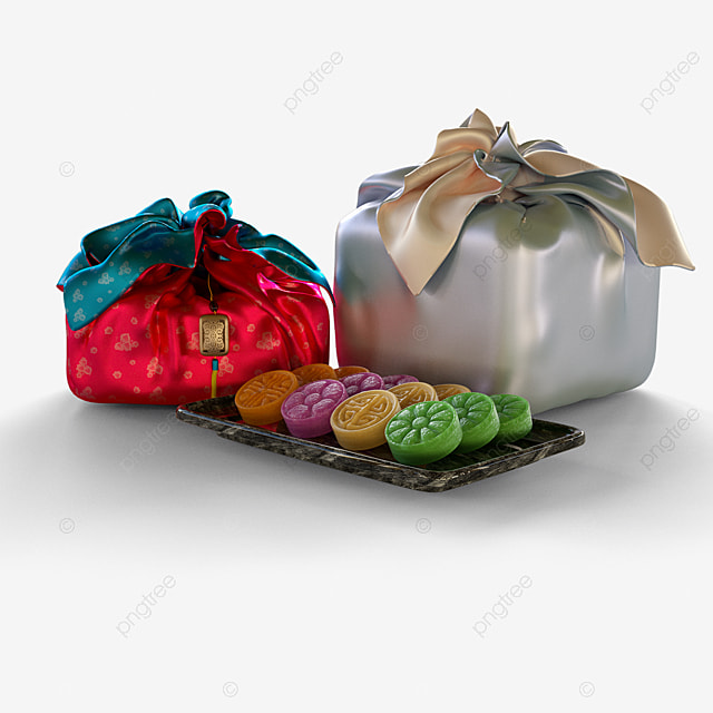 korean traditional dim sum gift box 3d elements