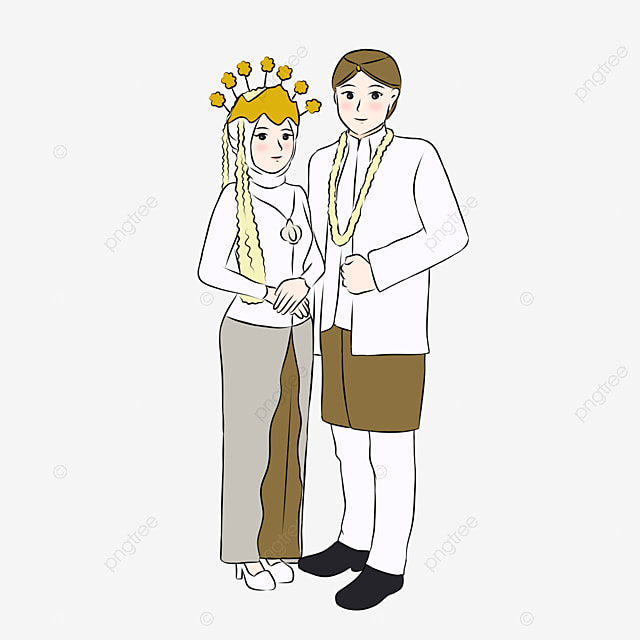 Cute Indonesian Muslim Couple Wearing Sundanese Traditional Wedding Dress On Their Wedding In Hand Drawn Indonesia Indonesian Muslim Couple Png Transparent Clipart Image And Psd File For Free Download