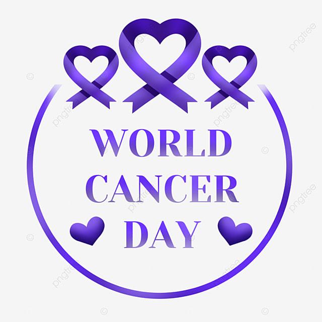 world cancer day purple round festive love ribbon