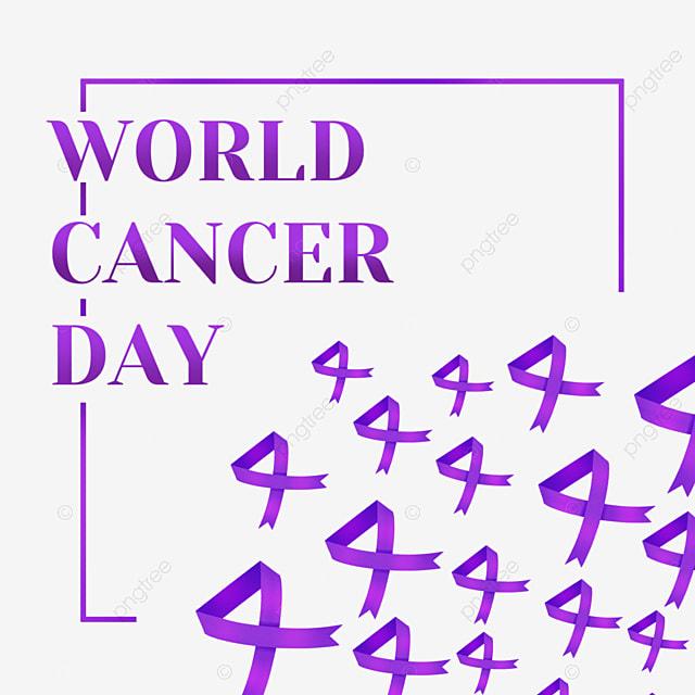 world cancer day purple square festive floating ribbon