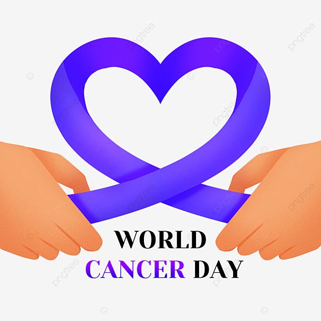 world cancer day purple festive hands love ribbon