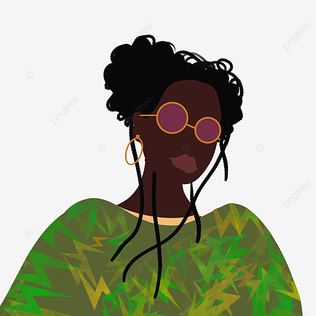 cartoon hand drawn green trend black woman illustration