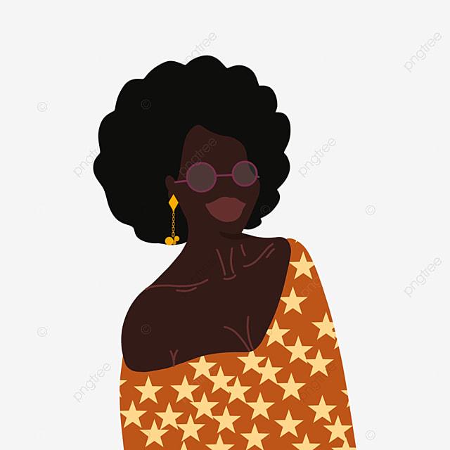 hand drawn cartoon black woman earring illustration