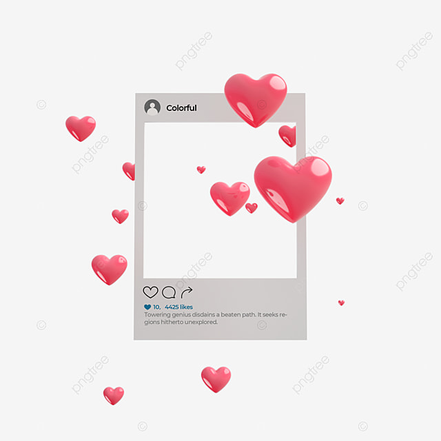 3d love like ins social interface elements