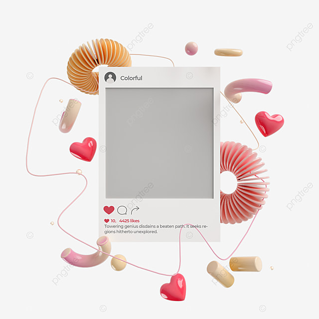 abstract love graphic ins social 3d element