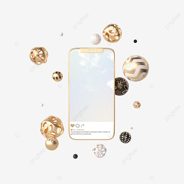 abstract metal ball ins social 3d element