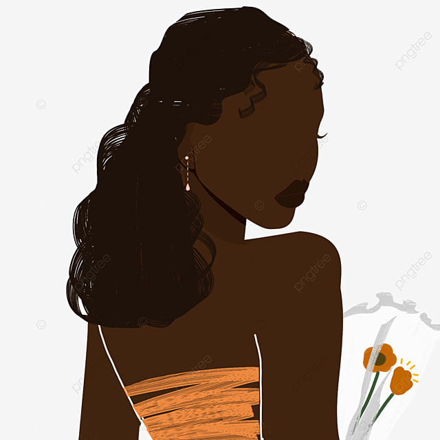 black woman black simple brown silhouette illustration